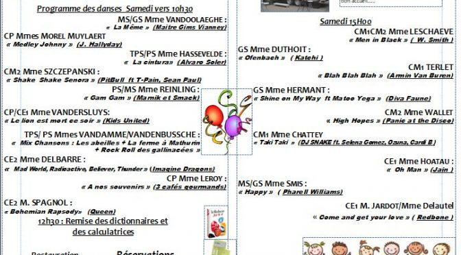 Kermesse 2019 Réunion le 18 juin à 17h30 Salle Speratta Deweppe